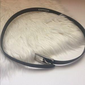 Express black leather belt